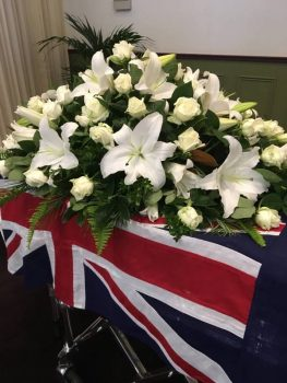 Australian flag on coffin at oakdale funerals mooroolbark