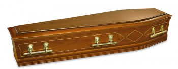 Golden Teak spencer teak coffin with gold embossing on the side coffins & caskets