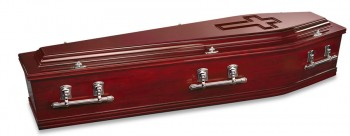 Montcalvary windsor coffin with cross engraved in lid. coffins & caskets